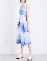 Sportmax Filo checked linen and silk-blend dress