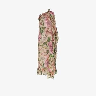 Dolce & Gabbana Womens Pink Floral One Shoulder Silk Chiffon Dress