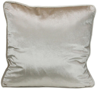 "Northlight 17"" Creamy Taupe Plush Velvet Solid Square Throw Pillow w/ Piped Edgin"