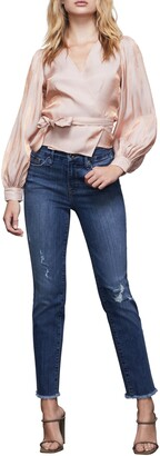 Good American Good Straight Distressed High Waist Ankle Straight Leg Jeans