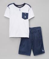 U.S. Polo Assn. White Pocket Tee & Shorts - Infant Toddler & Boys