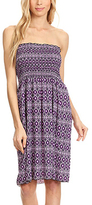 Purple Geometric Strapless Dress