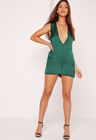 Missguided Silky Sleeveless Plunge Romper Green