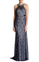 Sequin Hearts Embellished Neck Lace Gown