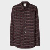 Paul Smith Men's Slim-Fit Navy 'Strawberry Skull' Print Cotton Shirt