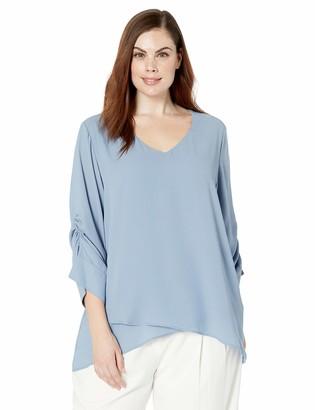 Karen Kane Women's Plus Size Shirred Sleeve TOP