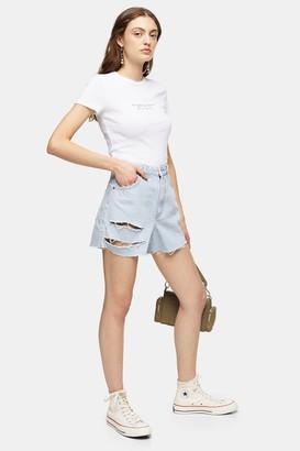 Topshop Bleach High Waisted Ripped Denim Shorts