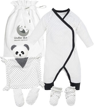 Under the Nile Polka Dot Panda 4-Piece Organic Cotton Gift Set