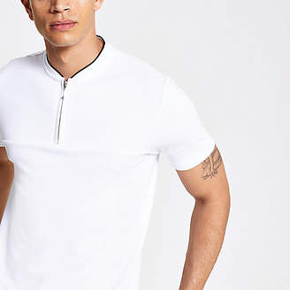 River Island White zip neck slim fit polo shirt