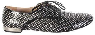 Miu Miu Black Glitters Canvas Derby Shoes Size 39