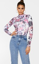 Above Be Tall Pink Oriental Print Roll Neck Bodysuit