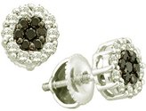 DazzlingRock Collection 1.48 Carat (ctw) 14k White Gold Round & White Diamond Ladies Cluster Flower Earrings