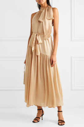Zimmermann - Super Eight Tiered Silk Halterneck Maxi Dress - Neutrals