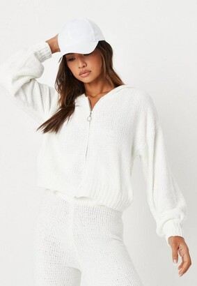 Missguided White Co Ord Chenille Zip Up Hoodie