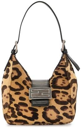 Fendi Pre Owned Leopard Print Logo Tote