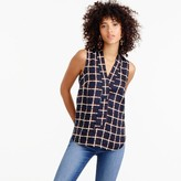 J.Crew Sleeveless silk-twill top in windowpane print