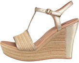 UGG Womens Fitchie Metallic Wedge Sandals Soft Gold