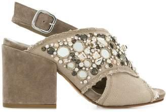 Elena Iachi gem embellished block heel sandals