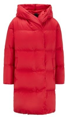 HUGO BOSS Relaxed-fit long-length down jacket with hood