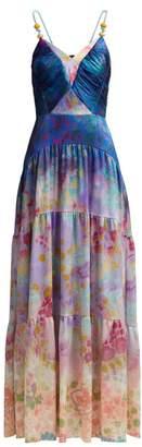 Peter Pilotto Floral-print Silk-blend Gown - Womens - Blue Multi
