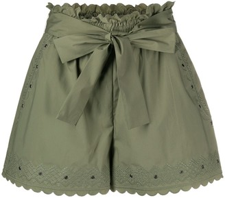 Twin-Set Embroidered Tie-Waist Shorts