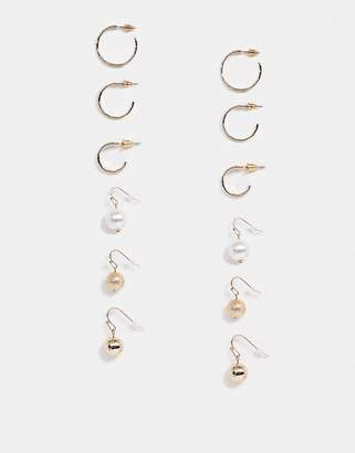 Asos Design DESIGN pack of 6 earrings with hammered hoops and pearl ball drops in gold tone