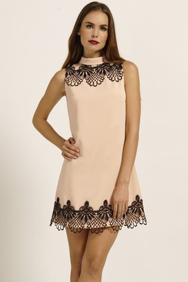 Paper Dolls Nude & Black Lace Frill Detail Shift Dress