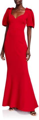 Badgley Mischka Puff-Sleeve Sweetheart-Neck Mermaid Gown