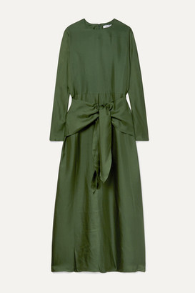 Deitas Artemis Knotted Silk-twill Maxi Dress - Forest green