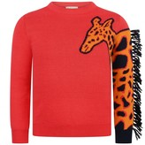 Paul Smith JuniorGirls Red Knitted Pavela Giraffe Jumper