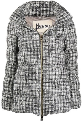 Herno Metallic Boucle Knit Padded Jacket
