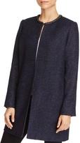T Tahari Jenna Chain Neck Metallic Tweed Coat