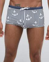 Asos Swim Hipsters With Anchor Print