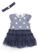 Little Me Infant Girl's Daisy Stripe Popover Bodysuit & Headband Set