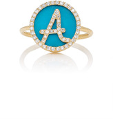 Names by Noush M'O Exclusive: Treasure Disk Roman Initial Ring With Turquoise Gemstone