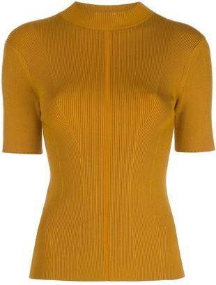 Oscar de la Renta Mock-Neck Knitted Top