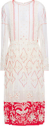 Valentino Embellished Embroidered Cotton And Silk-blend Midi Dress