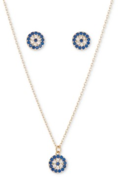 Unwritten 2-Pc. Set Cubic Zirconia Evil-Eye Pendant Necklace & Matching Stud Earrings in Gold-Flash
