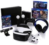 "Sony PlayStation 4 VR Bundle with PS4 Slim 500GB Console, PlayStation VR Worlds Bundle, ""Uncharted 4,"" ""Battlezone,"" ""EVE: Valkyrie&..."