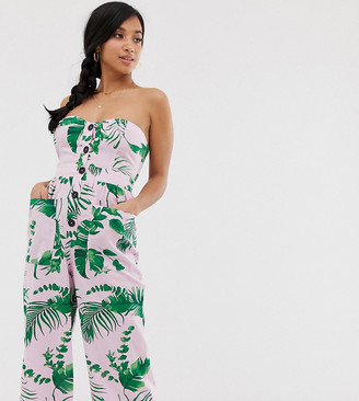 Asos DESIGN Petite bandeau button front jumpsuit with pockets in tropical print