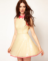 Lashes Of London Sequin Skater Dress with Neon Collar