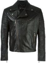 Versace patterned sleeves biker jacket