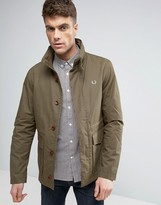 Fred Perry Field Jacket Concealed Hood In Olive
