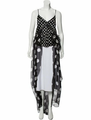 Caroline Constas Silk Polka Dot Dress w/ Tags Black