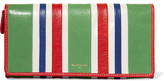 Balenciaga Striped Textured-leather Wallet - Green