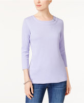 Karen Scott Embellished 3/4-Sleeve T-Shirt, Created for Macy's