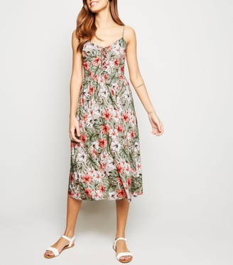 New Look Floral Lattice Front Midi Dress