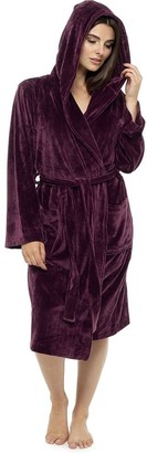 Style It Up Ladies Luxurious Soft Dressing Gown Hooded Plain Fluffy Snuggle Fleece Warm Robe (Wine 16-18)