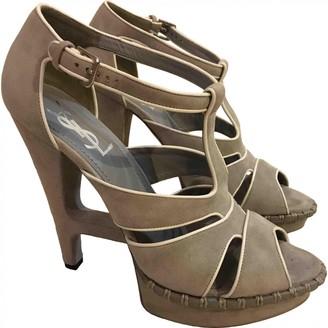 Saint Laurent Grey Suede Sandals