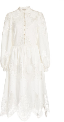 Temperley London Judy Lace-Inset Broderie Anglaise Midi Dress